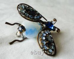 BEST Early Vtg Schreiner Rhinestone Trembler Insect Fly Brooch Blue Art Glass