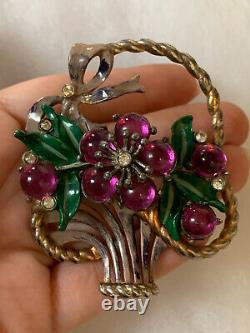 Basket brooch w flowers Large Vintage 1930-1940ss Cabochon Enamel Pin Very Rare