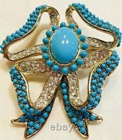 Beautiful Vintage Bow Brooch Faux Turquoise &rhinestones Kjl Kenneth Jay Lane