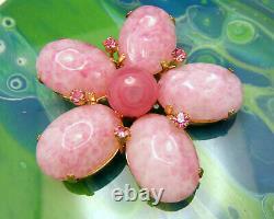Beautiful Vintage Schreiner New York Pink Art Glass Rhinestone Brooch Pendant GT