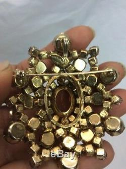 Beautiful Vtg Schreiner Blue Purple Rhinestone gold tone pin brooch/Pendant