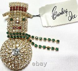 Big Eisenberg Ice Signed Rhinestones Vintage Christmas Snowman Dangling Brooch
