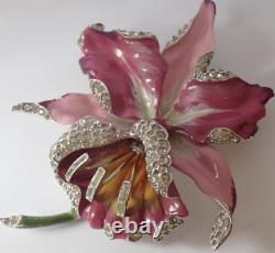 Big Vintage Coro Rhodium Plate Enamel Rhinestone Orchid Flower Brooch