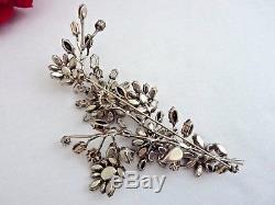 Book Piece Huge 5 Vintage Schreiner Trembler Rhinestone Floral Pin Brooch