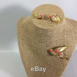 Boucher Demi-Parure Brooch Clip Earrings Cabochon Stone Rhinestone Gold Tone VTG