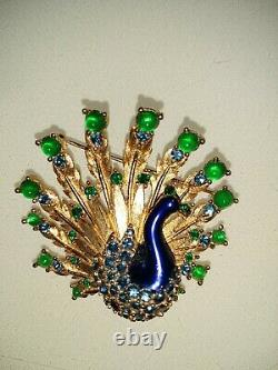 Boucher Peacock Brooch Signed Vintage