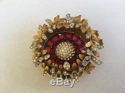 Brilliant Estate Vintage BOUCHER FLOWER Rhinestone Pin Brooch 7706P Trifari