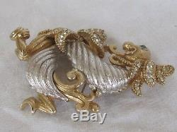 C3 Vintage CINER Figural Dragon Pin Brooch Gold Silver Tone & Rhinestones