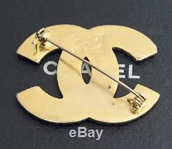 CHANEL CC Logo Rhinestone Brooch Gold Tone Pin Vintage Crystal #2482