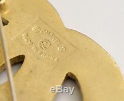 CHANEL CC Logo Rhinestone Brooch Gold Tone Pin Vintage Crystal #2497