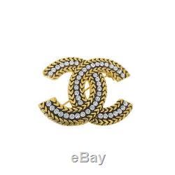 CHANEL Designer Vintage Gold-toned Metal Rhinestone CC Logo Pin Brooch