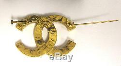 CHANEL Gold Plated CC Logo Rhinestone Vintage Pin Brooch