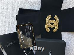 CHANEL Gold Plated CC Logos Rhinestone Vintage Pin Brooch