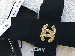 CHANEL Gold Plated CC Logos Rhinestone Vintage Pin Brooch