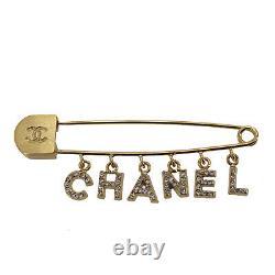 CHANEL Logos Rhinestone Safety Pin Brooch Gold 01P Vintage France Auth #UU210 O
