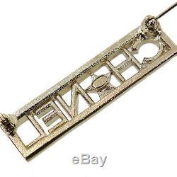 CHANEL Logos Rhinestone Silver Brooch A17 C Gold-Plated Vintage Auth #AB367 I