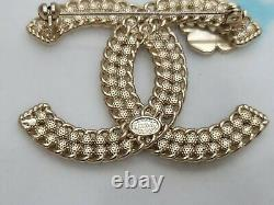 CHANEL Pale Gold Plated CC Logos Vintage Pearl Rhinestone Brooch Pin Multi-Color