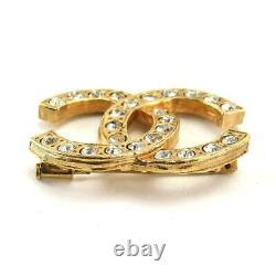 CHANEL Rhinestone Coco Mark Brooch Gold Accessories Vintage 90078994