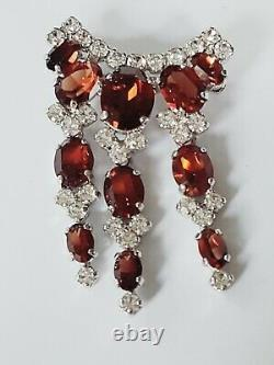 CHRISTIAN DIOR 1980s Vintage Amber Faceted Stones w Clear RHINESTONES Brooch Pin