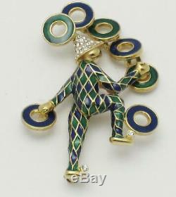 CINER Vintage Enamel Rhinestone Figural Juggler Brooch Pin