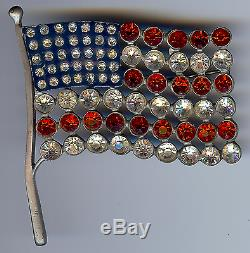 Calvaire Large Rare Vintage Enamel Rhinestone American Flag Pin Brooch