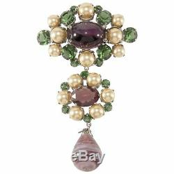 Christian Dior Brooch Pin 4.25 Purple & Green Glass Dangle Faux Pearl VTG 1960