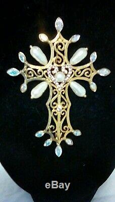 Christian Lacroix Paris Signed Vintage Gold Tone Jeweled Cross Pin Brooch
