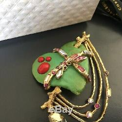 Christian Lacroix vintage brooch green heart rhinestones beads chain in box 90s