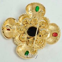Ciner Vintage Maltese Cross Rhinestone Moghul Cabochon Brooch Pin Pendant
