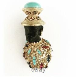 Ciner Vintage Rare Rhinestone & Faux Turquoise Cabochon Blackamoor Brooch