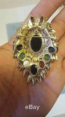 Ciner vintage multi colored faux Jade Carnelian and Onyx & rhinestone BIG brooch