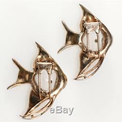 Coro 1940s Angel Fish Jelly Belly Pin Clips Brooch Pair Vintage Sterling Silver