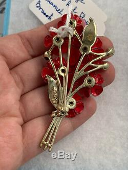 Coro Brooch Vintage 1950ss Red AB Rhinestone Enamel Bouquet Flowers Pin