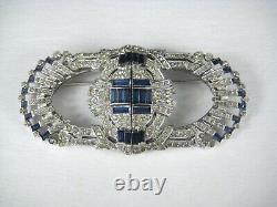 Coro Duette Brooch Clip Silvertone Size 2.4 In Pin Blue Rhinestones VTG Art Deco