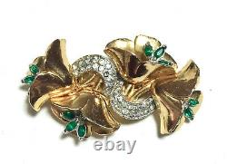 Coro Duette Pin/Brooch, Green & Clear Rhinestones Gold Tone, Vintage 1940's