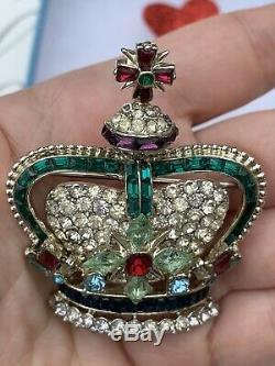 Coro Pegasus brooch Crown Large 2.2 inch Rhinestone Vintage 1950 s Very Rare