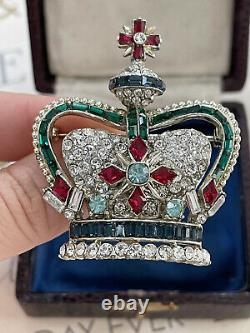 Coro brooch Crown Large Creen Baguette rhinestone Pave Vintage 1950s Gorgeous