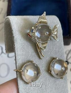 Coro brooch & earrings 2 ps set angel fish jelly belly Lucite Vintage 1940s Rare
