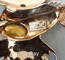 Corocraft ROCK FISH Pin Sterling Enameled Coro Craft Brooch Vintage Rhinestone