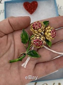 Corocraft brooch Vintage 1950s Multi Enamel Bouquet Flowers Pin Rare