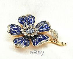 Crown Trifari Blue Harlequin Enamel Rhinestone Pave Flower Brooch Rare VtG