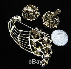 Crown Trifari Cornucopia Brooch Earring Set Pastel Rhinestones Flower Basket Vtg