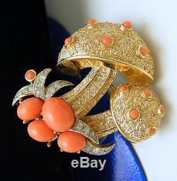 Crown Trifari Mushroom Brooch 1960s Faux Coral Lucite Cabochons Rhinestones