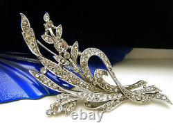 Crown Trifari Patent 129319 Rhinestone Floral Brooch 1941 Silver Tone