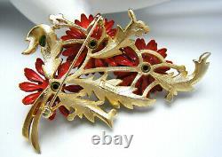 Crown Trifari Vintage Enamel Rhinestone Flower Brooch Red Green Gold Tone