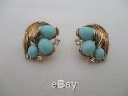 Crown Trifari Vintage Signed Necklace, Bracelet, Brooch and Earrings