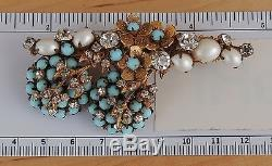 Demario Ny Brooch Pin Rhinestones Faux Pearls Faux Turquoise Rare Vintage