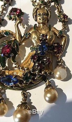 Derosa Rare Huge Vintage Sterling Enamel Rhinestone Royal Mermaid Pin Brooch