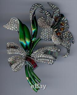 Dujay Large Vintage Dimensional Rhinestone Enamel Flower Pin Brooch As Found