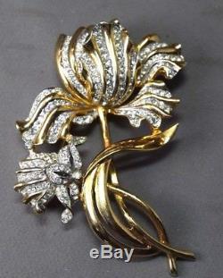 ENORMOUS Coro Vintage Figural Dbl. Flower Brooch Inset withSparkling Rhinestones